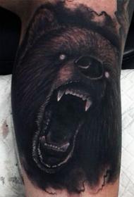令人毛骨悚然的恶魔咆哮熊彩色纹身图案