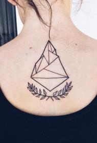 背部黑色的几何与植物纹身图案
