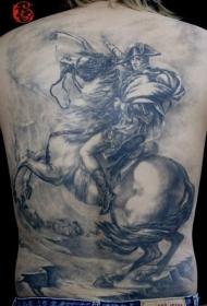 背部战士与战马纹身图案