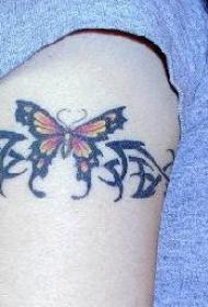 手臂蝴蝶部落图腾袖标纹身图案