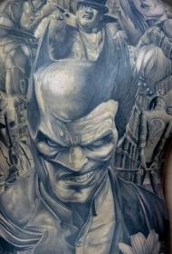 背部插画风格黑色的蝙蝠侠小丑纹身图案