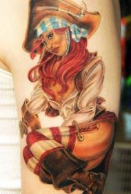 手臂非常逼真的彩色女郎纹身图案