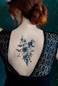 女生背部好看的野花纹身图案