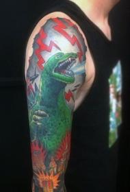 手臂亚洲风格卡通五彩哥斯拉纹身图案