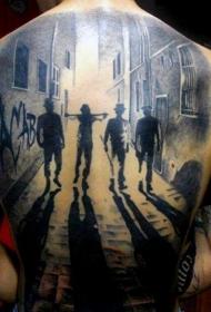 背部很酷的黑白暴徒与夜间城市纹身图案