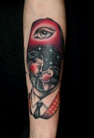 手臂复古风格的彩色肖像纹身图案