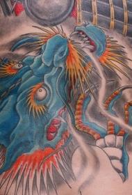 腰部蓝色的亚洲龙纹身图案
