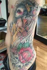 侧肋old school五彩的亚洲女人花朵纹身图案