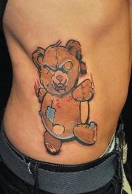 侧肋熊形状的巫毒娃娃彩色纹身图案