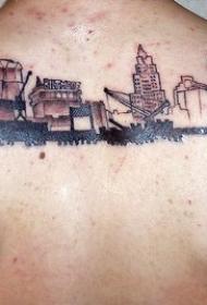背部建筑和车辆纹身图案