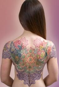 女生背部五颜六色的花卉与蝴蝶小鸟纹身图案