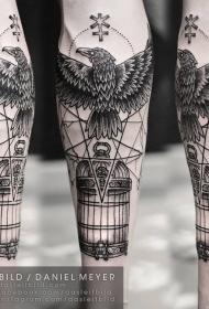 手臂神秘的黑白大乌鸦与笼子符号纹身图案