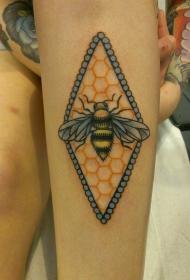 手臂上的蜜蜂和蜂巢纹身图案