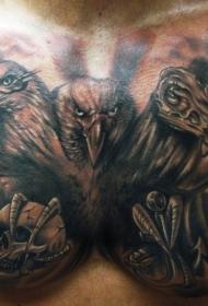 胸部有三个头的大鸟纹身图案