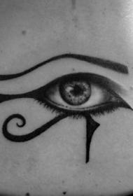 背部埃及荷鲁之斯和逼真眼球纹身图案