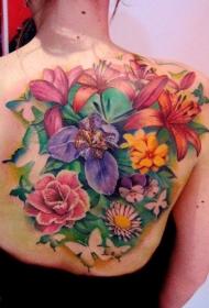 背部美丽生动的彩色热带花卉纹身图案