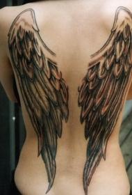 简单的彩绘翅膀背部纹身图案