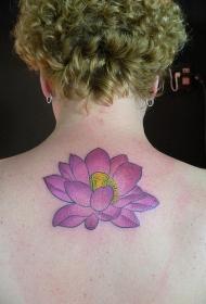 背部紫色莲花纹身图案