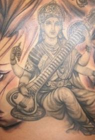 背部宗教女孩音乐家纹身图案