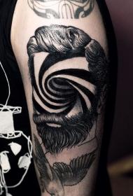 有趣的黑色无脸肖像与催眠装饰手臂纹身图案
