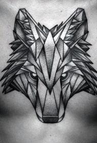 胸部点刺风格黑色狼头纹身图案