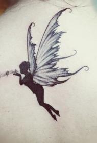 背部优雅的精灵和星尘纹身图案