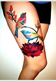 大腿鲜艳颜色的小鸟与花朵纹身图案