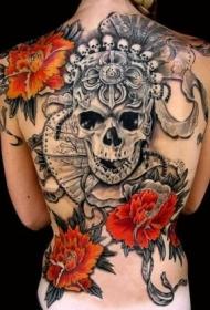 背部黑灰的骷髅和红色花朵纹身图案