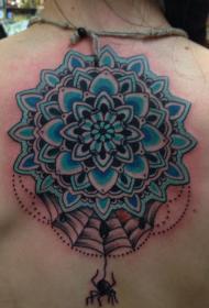 背部好看的蓝色梵花与小蜘蛛纹身图案