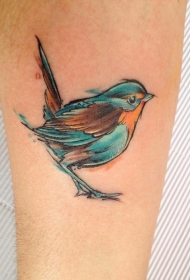 可爱的水彩画风格小鸟纹身图案