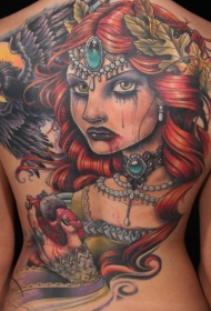 old school彩色血腥女巫和乌鸦心脏背部纹身图案