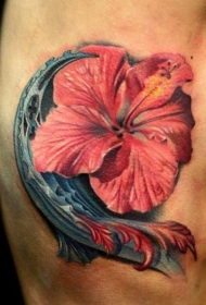 写实风格漂亮的逼真花朵纹身图案