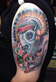 手臂彩色卡通印度野牛与眼睛和吸烟管纹身图案