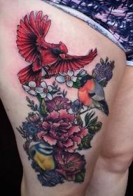大腿奇妙的彩色鸟和盛开的花朵纹身图案