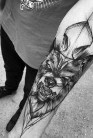 小臂黑色线条插画风格邪恶的狼纹身图案