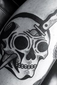 插画风格黑色骷髅匕首纹身图案