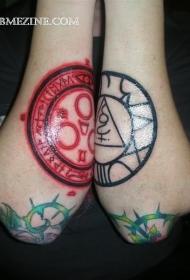 神秘的红色和黑色的圈形符号小臂纹身图案