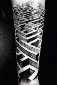 点刺风格黑色个性的迷宫小臂纹身图案