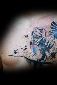 胸部彩绘泼墨恐龙线条纹身图案
