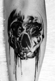 小腿骷髅形状黑白睡眠情侣纹身图案