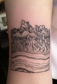 手腕黑色线条点刺简单的景观纹身图案