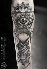 手臂黑色点刺神秘的眼睛几何纹身图案
