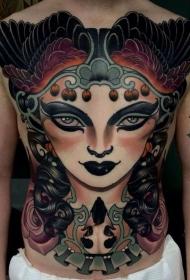 胸部和腹部现代风格彩色妇女与翅膀纹身图案