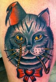 old school猫肖像纹身图案