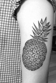 手臂黑色几何风格菠萝纹身图案