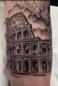 小臂黑色点刺古罗马竞技场纹身图案