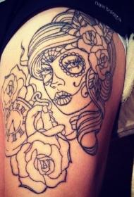 大腿黑色线条女郎和玫瑰时钟纹身图案