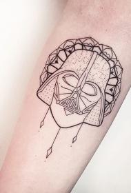 手臂简单的黑色线条达斯维德面具图案图案