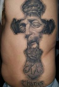 侧肋黑灰十字架与耶稣肖像纹身图案