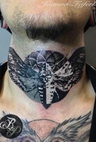 颈部好看的黑白蝴蝶纹身图案